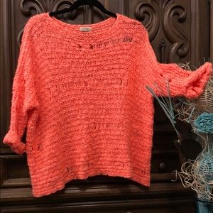 BLVD Distressed Knit Sweater - Coral